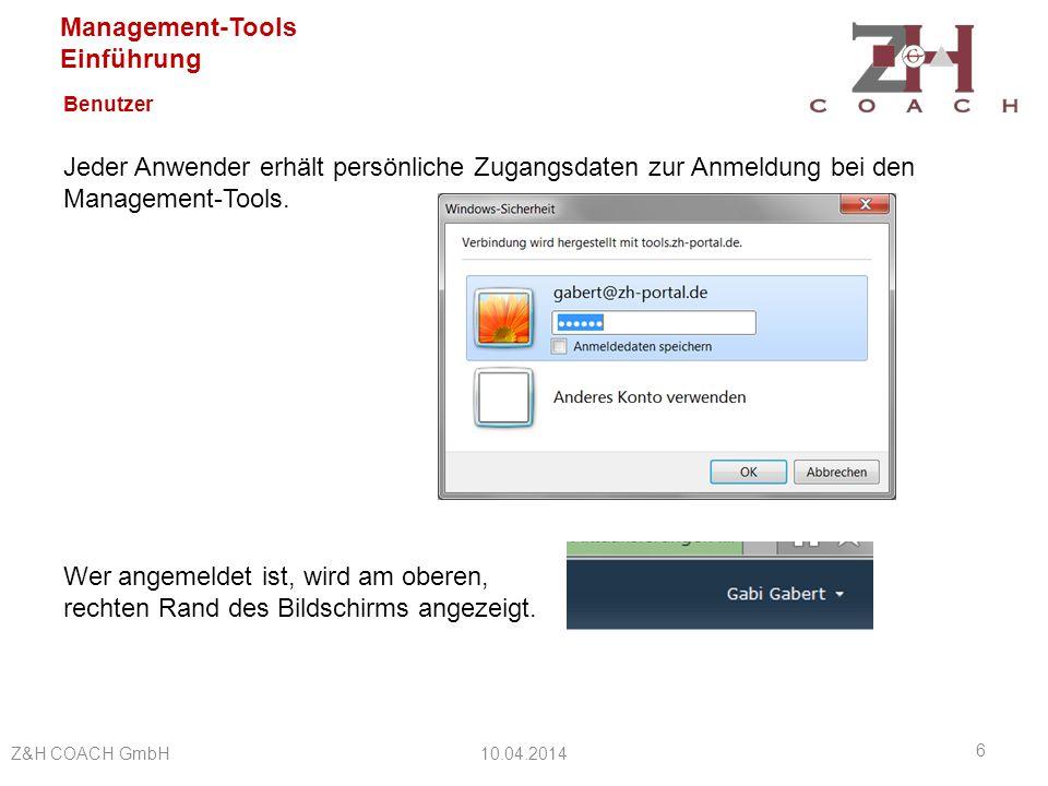 Management-Tools Einführung Benutzer Bei der Arbeit mit den Management-Tools hinterlässt jeder Benutzer seine Spuren – es wird aufgezeichnet, wer und wann einen Eintrag oder ein Dokument eingestellt oder geändert hat.