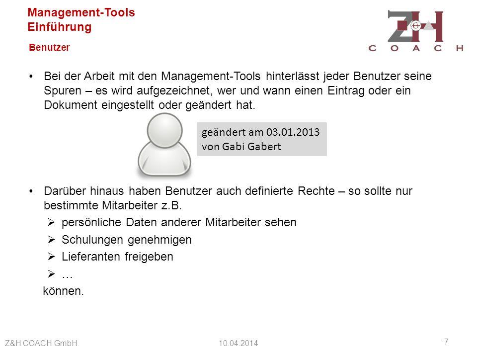 Management-Tools Einführung Benutzer Die Seite für Benutzer mit Administrator-Rechten ist tatsächlich auch nur für die Administratoren sichtbar.