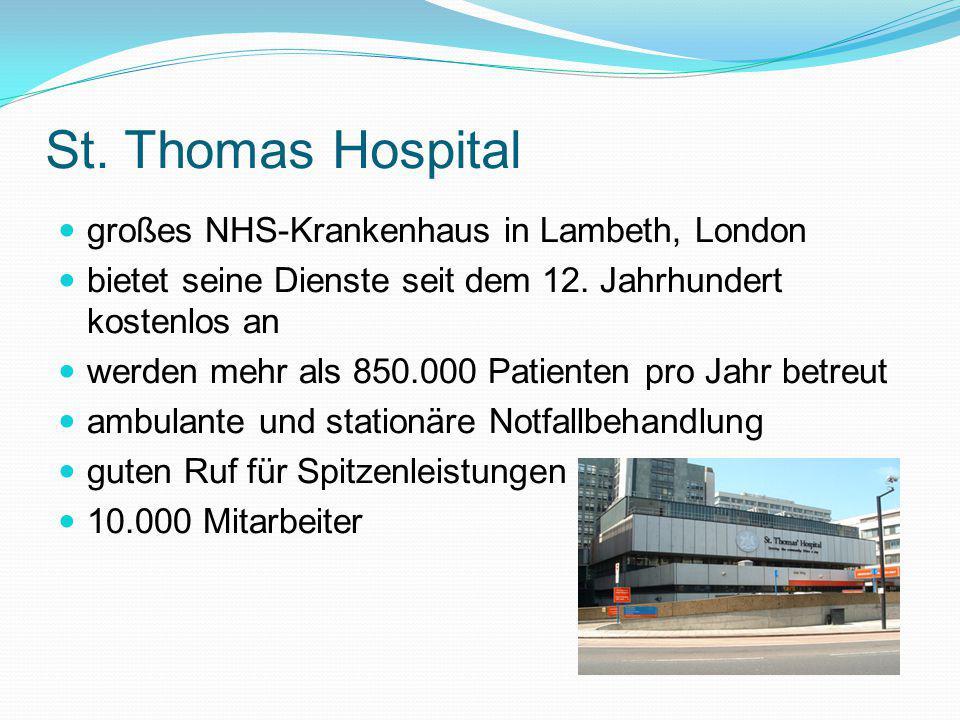 St. Thomas Hospital großes NHS-Krankenhaus in Lambeth, London bietet seine Dienste seit dem 12. Jahrhundert kostenlos an werden mehr als 850.000 Patie