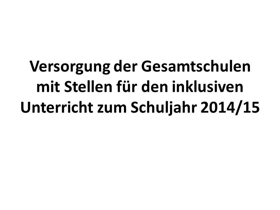 Versorgung der Gesamtschulen mit Stellen für den inklusiven Unterricht zum Schuljahr 2014/15
