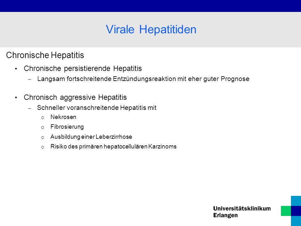 Chronische Hepatitis Chronische persistierende Hepatitis  Langsam fortschreitende Entzündungsreaktion mit eher guter Prognose Chronisch aggressive He