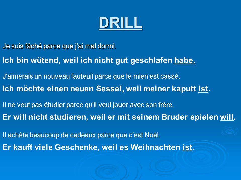 Je parle anglais en Allemagne parce que je ne parle pas allemand.