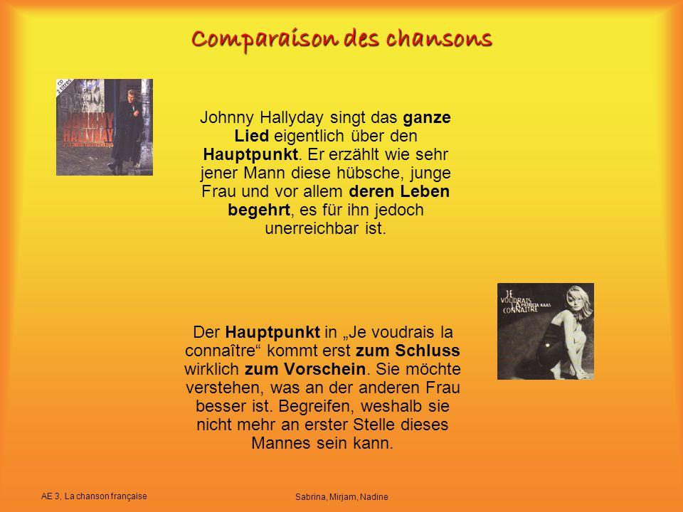 """AE 3, La chanson française Sabrina, Mirjam, Nadine Comparaison des chansons Der Hauptpunkt in """"Je voudrais la connaître"""" kommt erst zum Schluss wirkli"""