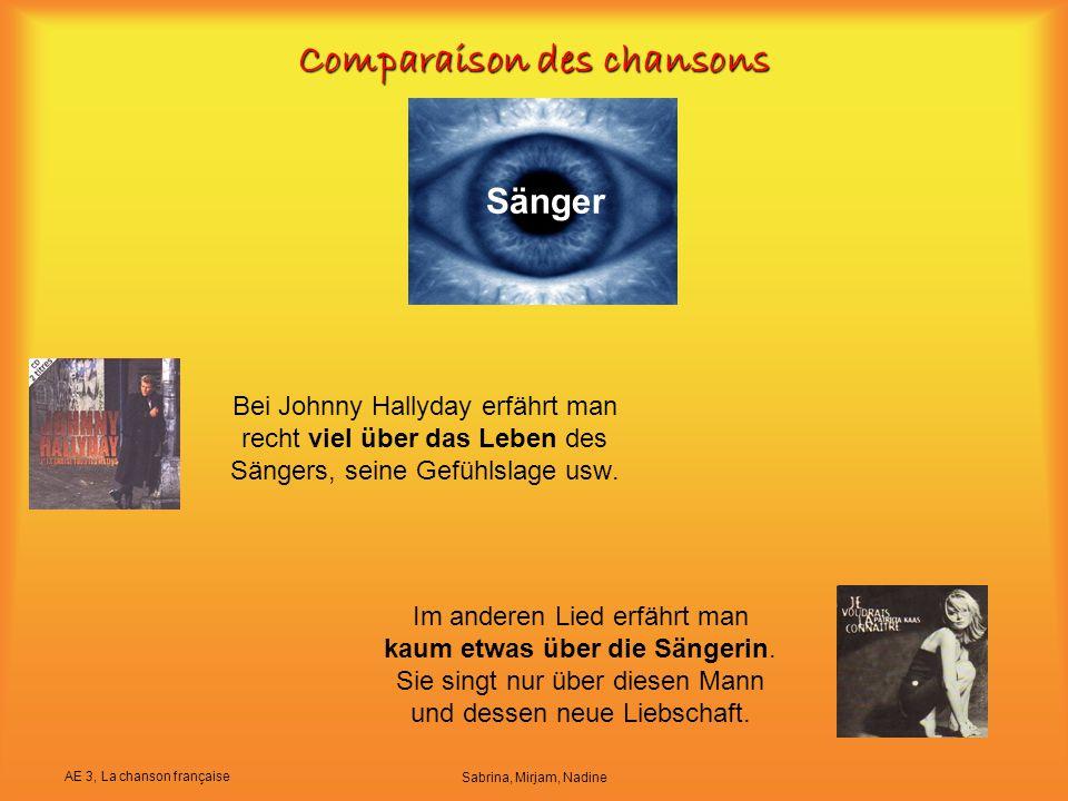 AE 3, La chanson française Sabrina, Mirjam, Nadine Comparaison des chansons Bei Johnny Hallyday erfährt man recht viel über das Leben des Sängers, sei