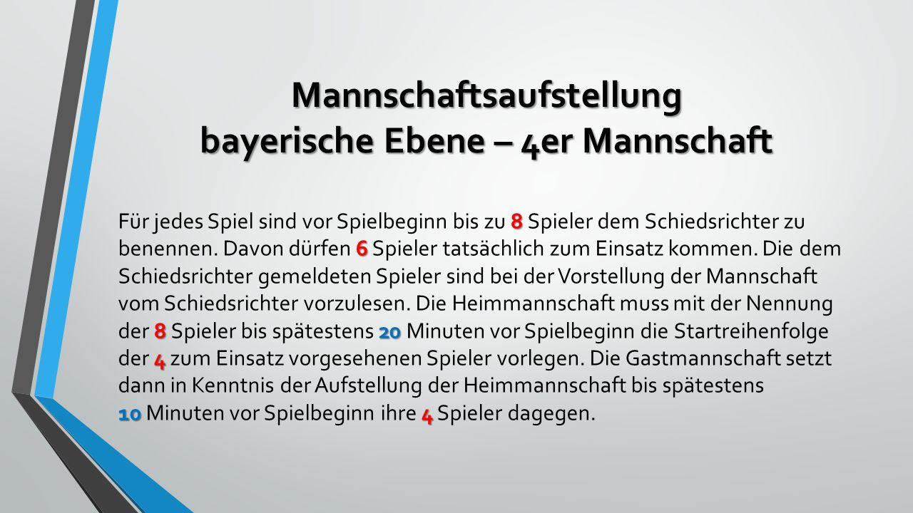 Mannschaftsaufstellung bayerische Ebene – 4er Mannschaft 8 6 820 4 104 Für jedes Spiel sind vor Spielbeginn bis zu 8 Spieler dem Schiedsrichter zu benennen.
