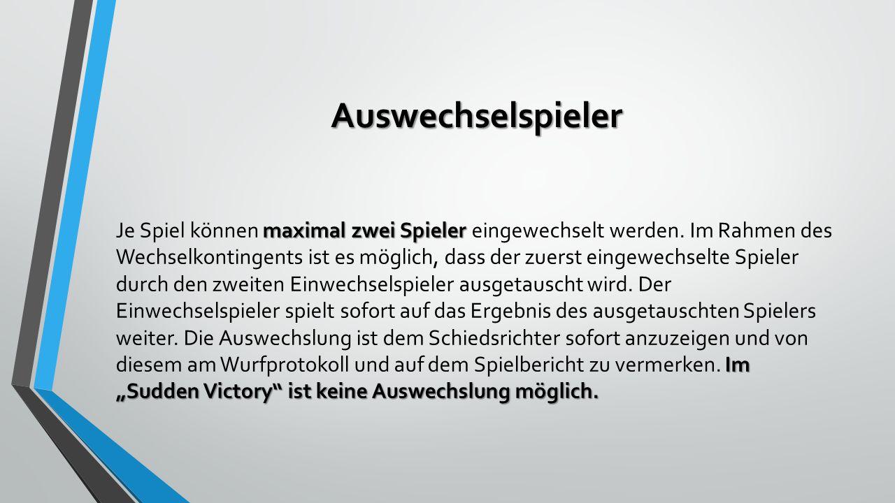 """Auswechselspieler maximal zwei Spieler Im """"Sudden Victory ist keine Auswechslung möglich."""