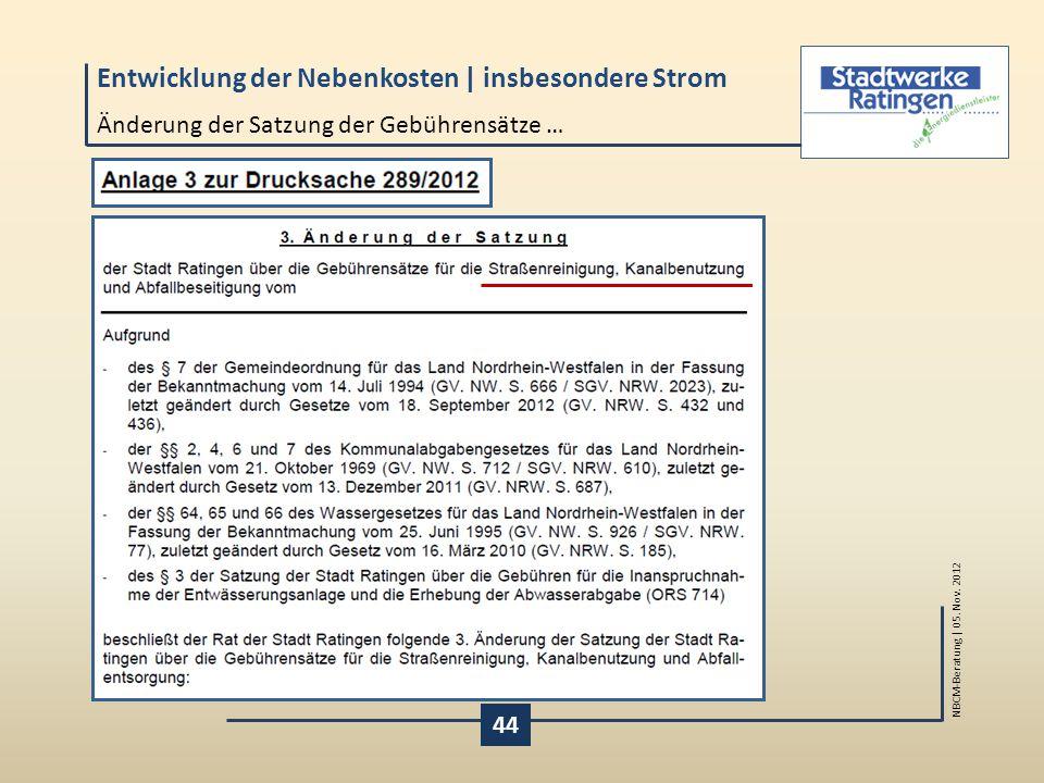 Entwicklung der Nebenkosten | insbesondere Strom NBCM-Beratung | 05.