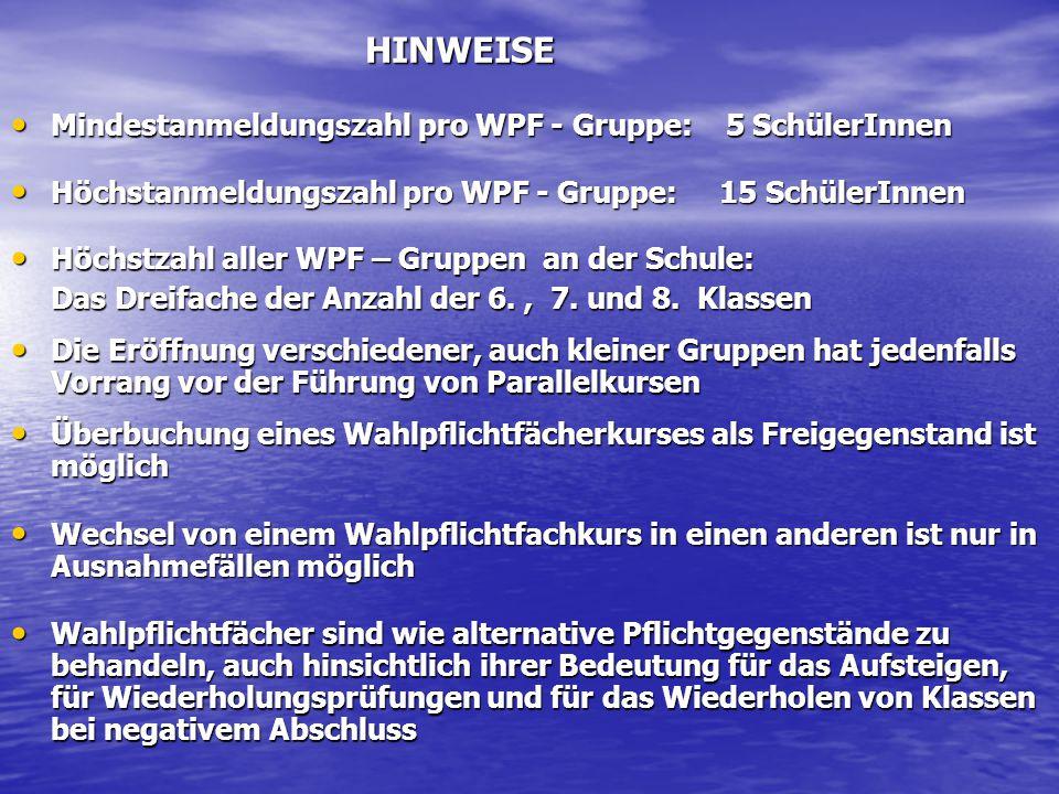 Mindestanmeldungszahl pro WPF - Gruppe: 5 SchülerInnen Mindestanmeldungszahl pro WPF - Gruppe: 5 SchülerInnen Höchstanmeldungszahl pro WPF - Gruppe: 1
