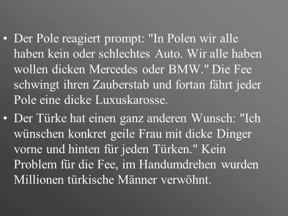 Ein Bayer, ein Ossi, ein Pole, ein Türke und ein Österreicher retten eine Frau vor dem Ertrinken. Diese verwandelt sich sodann in eine hübsche Fee und