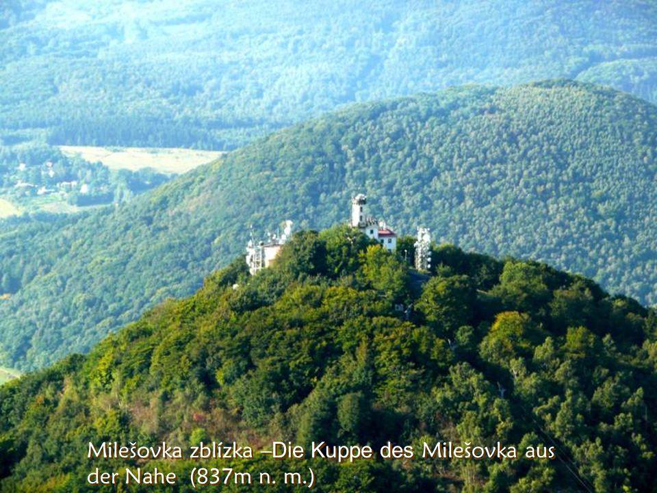 A to je Milešovka, kde snad stále je větrno. Vor uns der Berg Milešovka, bekannt dafür, dass es dort fast immer windig ist.