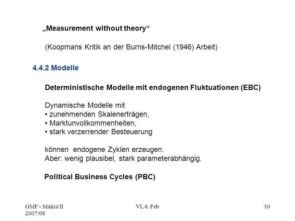 "GMF - Makro II 2007/08 VL 6. Feb10 ""Measurement without theory"" (Koopmans Kritik an der Burns-Mitchel (1946) Arbeit) 4.4.2 Modelle Deterministische Mo"