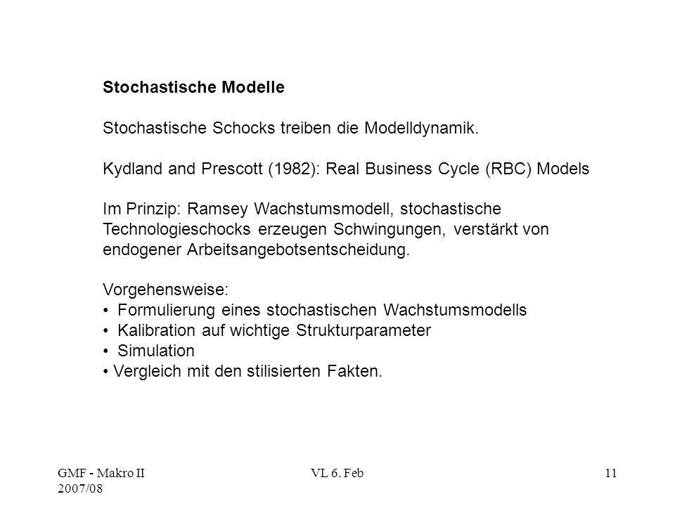 GMF - Makro II 2007/08 VL 6. Feb11 Stochastische Modelle Stochastische Schocks treiben die Modelldynamik. Kydland and Prescott (1982): Real Business C