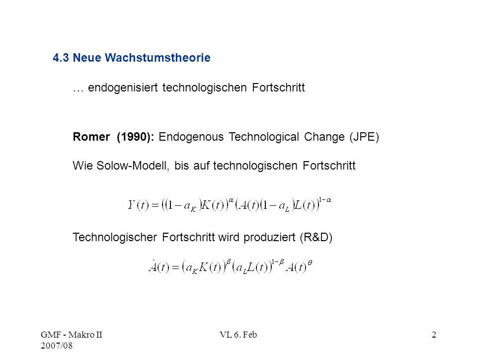 GMF - Makro II 2007/08 VL 6. Feb2 Romer (1990): Endogenous Technological Change (JPE) Wie Solow-Modell, bis auf technologischen Fortschritt Technologi