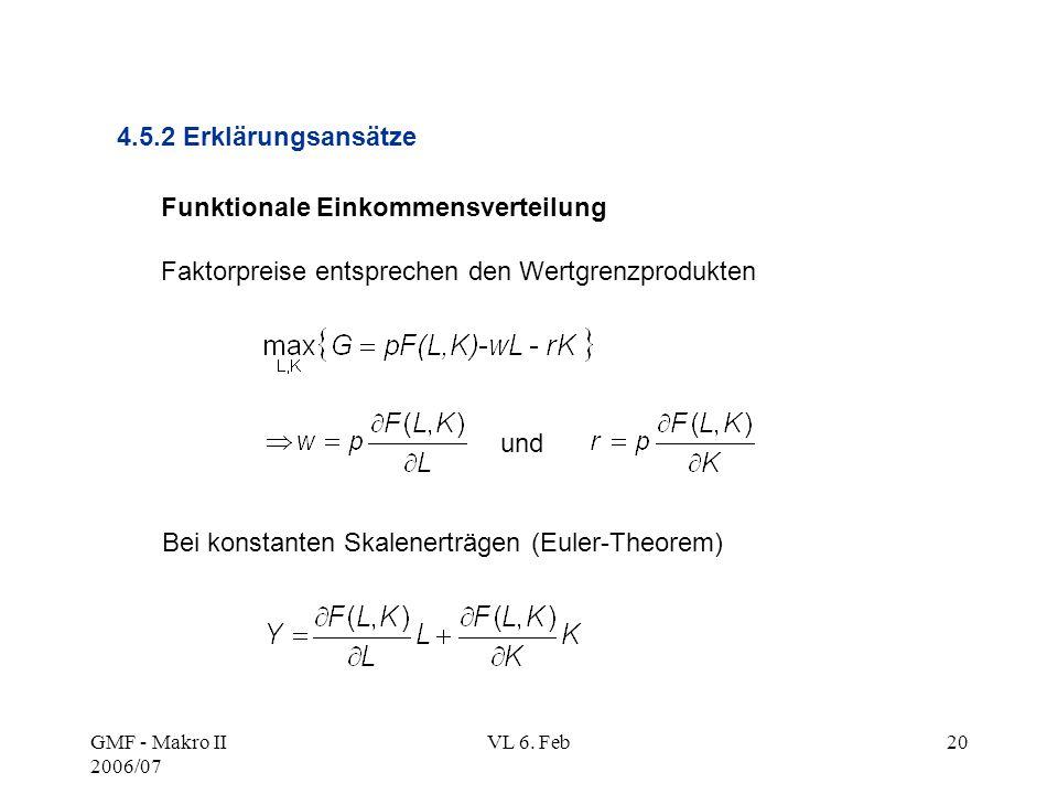 GMF - Makro II 2006/07 VL 6. Feb20 Funktionale Einkommensverteilung Faktorpreise entsprechen den Wertgrenzprodukten 4.5.2 Erklärungsansätze und Bei ko