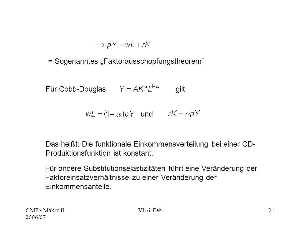 """GMF - Makro II 2006/07 VL 6. Feb21 = Sogenanntes """"Faktorausschöpfungstheorem"""" Für Cobb-Douglasgilt und Das heißt: Die funktionale Einkommensverteilung"""
