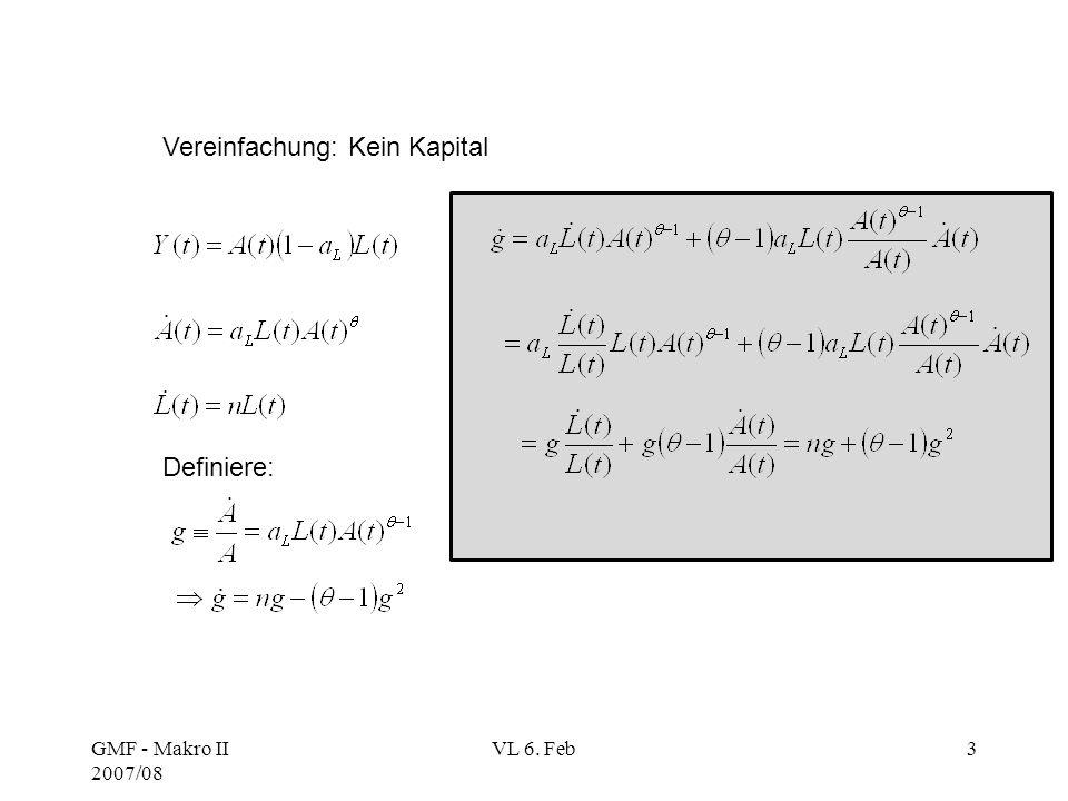 GMF - Makro II 2007/08 VL 6. Feb3 Vereinfachung: Kein Kapital Definiere: