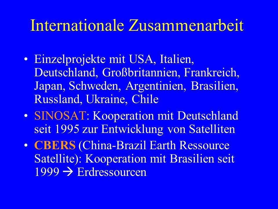 Internationale Zusammenarbeit Einzelprojekte mit USA, Italien, Deutschland, Großbritannien, Frankreich, Japan, Schweden, Argentinien, Brasilien, Russl