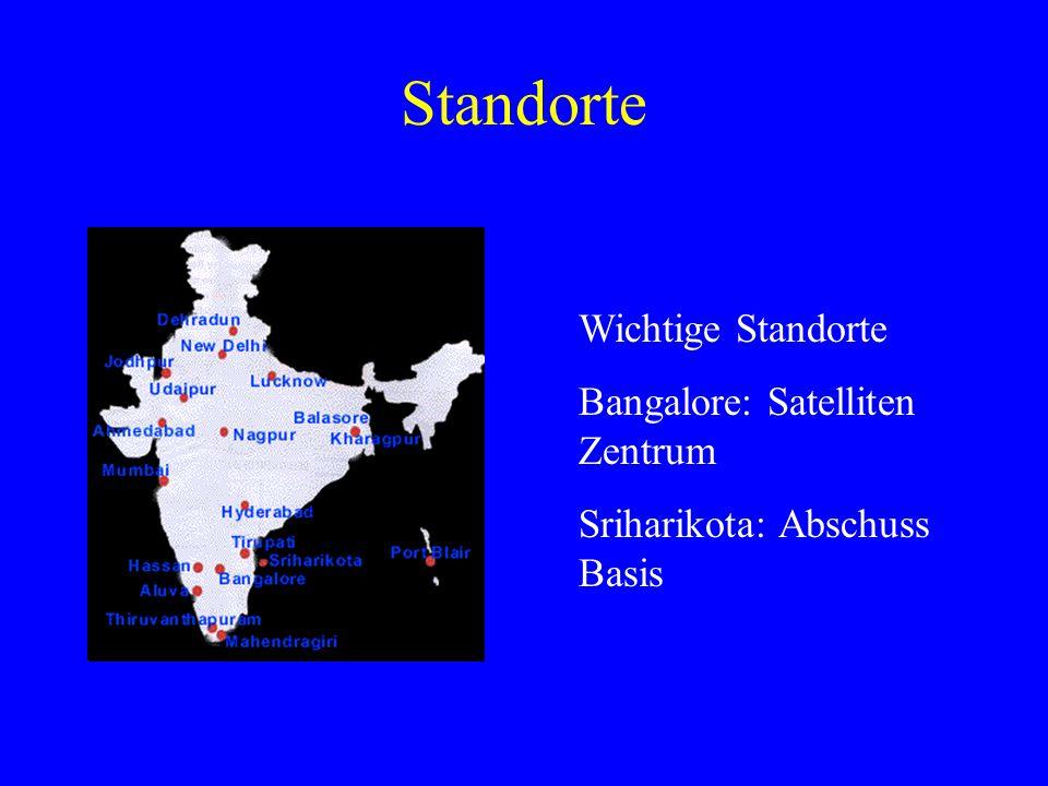 Standorte Wichtige Standorte Bangalore: Satelliten Zentrum Sriharikota: Abschuss Basis