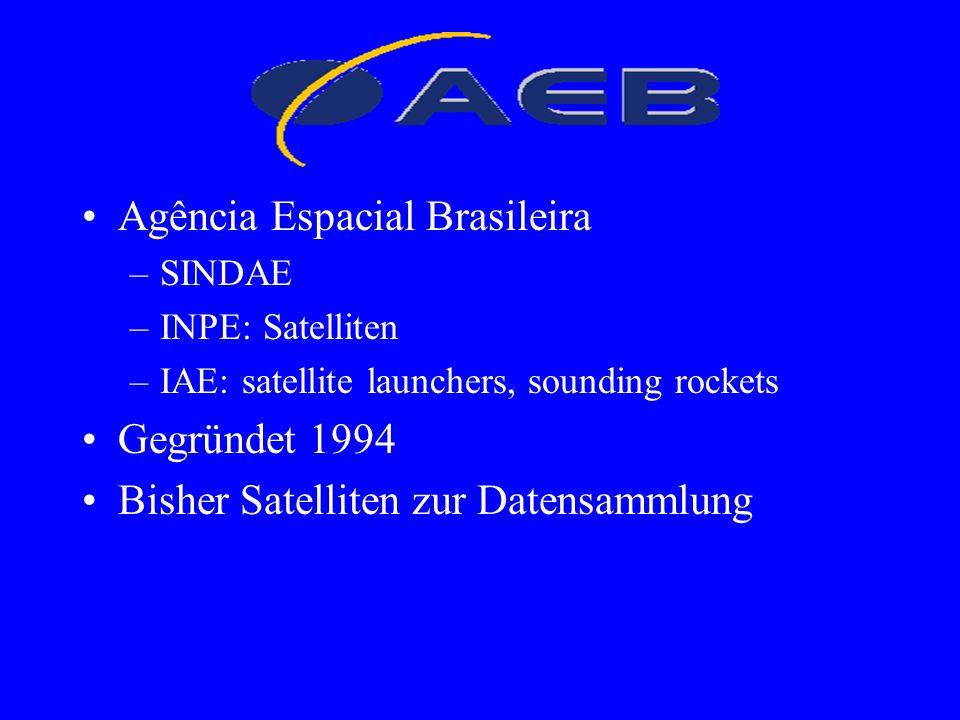 Agência Espacial Brasileira –SINDAE –INPE: Satelliten –IAE: satellite launchers, sounding rockets Gegründet 1994 Bisher Satelliten zur Datensammlung A