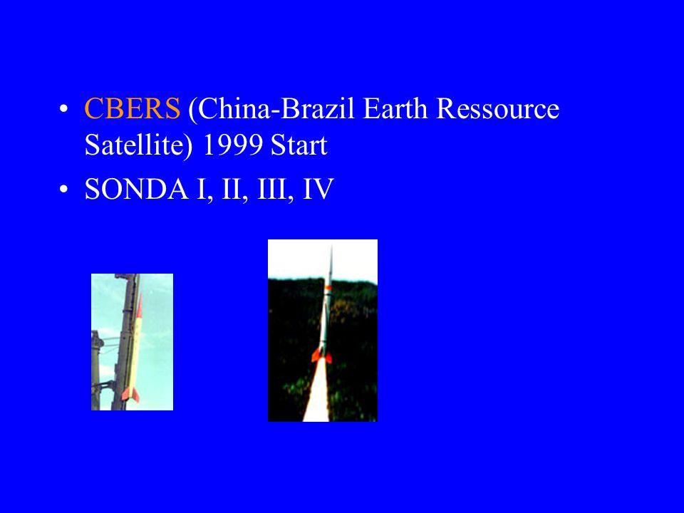 CBERS (China-Brazil Earth Ressource Satellite) 1999 Start SONDA I, II, III, IV