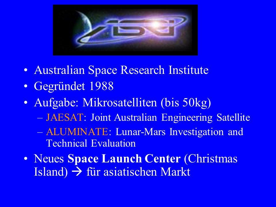 ASRI Australian Space Research Institute Gegründet 1988 Aufgabe: Mikrosatelliten (bis 50kg) –JAESAT: Joint Australian Engineering Satellite –ALUMINATE