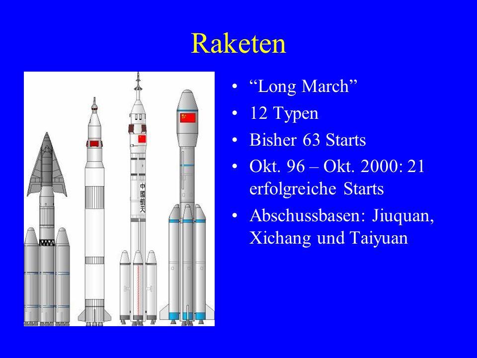 "Raketen ""Long March"" 12 Typen Bisher 63 Starts Okt. 96 – Okt. 2000: 21 erfolgreiche Starts Abschussbasen: Jiuquan, Xichang und Taiyuan"