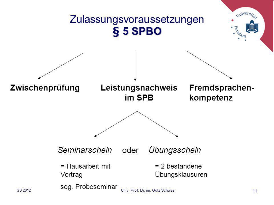 11 § 5 SPBO Zulassungsvoraussetzungen § 5 SPBO ZwischenprüfungLeistungsnachweis im SPB Fremdsprachen- kompetenz Seminarschein oderÜbungsschein = Hausa