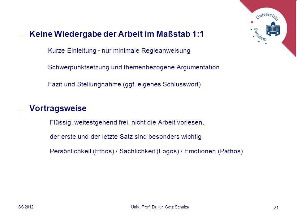  Keine Wiedergabe der Arbeit im Maßstab 1:1 Kurze Einleitung - nur minimale Regieanweisung Schwerpunktsetzung und themenbezogene Argumentation Fazit