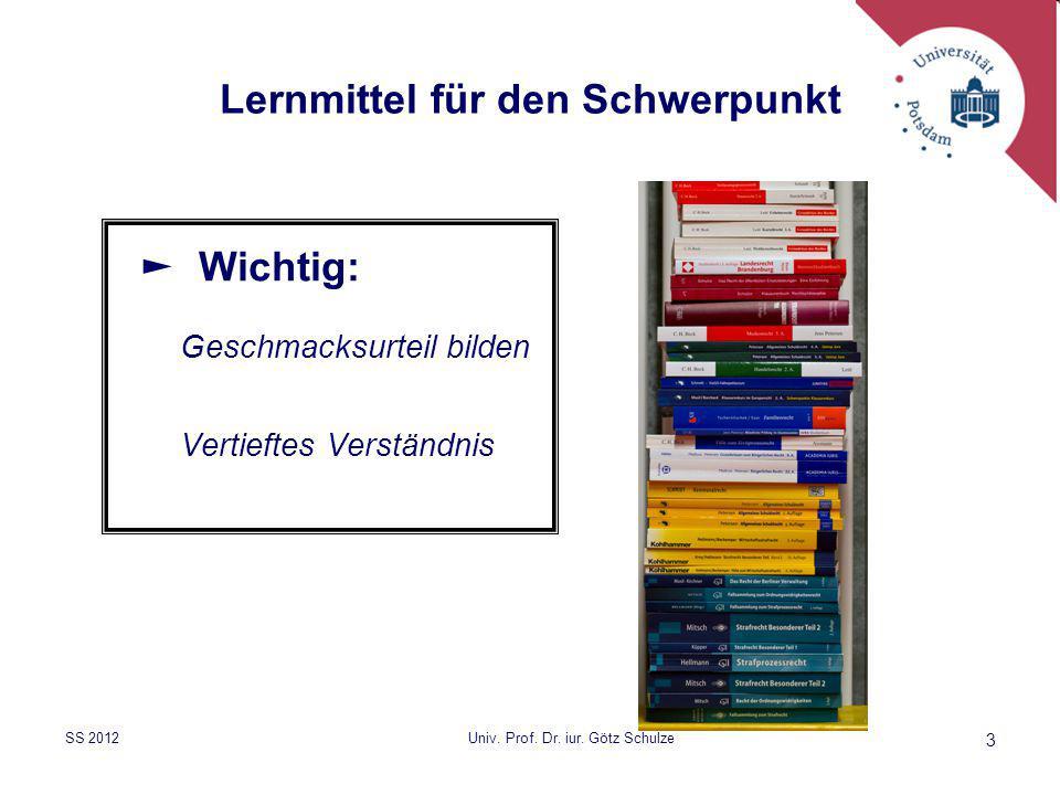 3 Lernmittel für den Schwerpunkt ► Wichtig: Geschmacksurteil bilden Vertieftes Verständnis SS 2012Univ. Prof. Dr. iur. Götz Schulze
