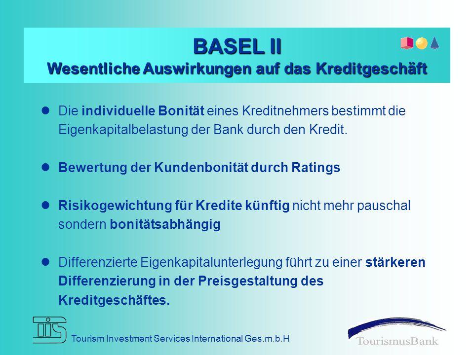 Tourism Investment Services International Ges.m.b.H BASEL II Wesentliche Auswirkungen auf das Kreditgeschäft Die individuelle Bonität eines Kreditnehmers bestimmt die Eigenkapitalbelastung der Bank durch den Kredit.