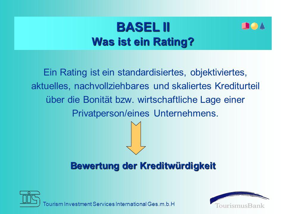 Tourism Investment Services International Ges.m.b.H RATING Unternehmensführung / Management Wirtschaftliche Verhältnisse Markt / Produkte / Branche Beziehung zur Bank Wie kommt es zu einem Rating?