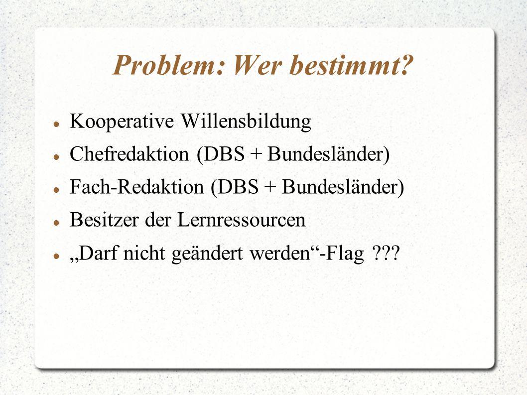 """Problem: Wer bestimmt? Kooperative Willensbildung Chefredaktion (DBS + Bundesländer) Fach-Redaktion (DBS + Bundesländer) Besitzer der Lernressourcen """""""