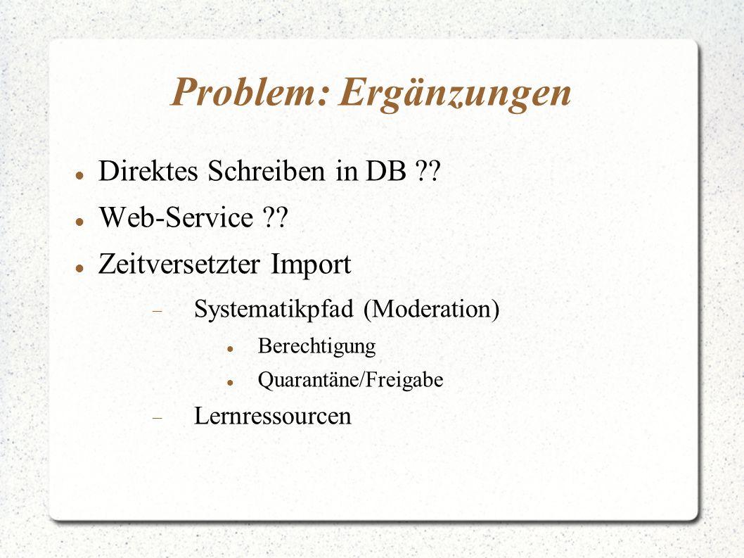 Problem: Ergänzungen Direktes Schreiben in DB ?? Web-Service ?? Zeitversetzter Import  Systematikpfad (Moderation) Berechtigung Quarantäne/Freigabe 