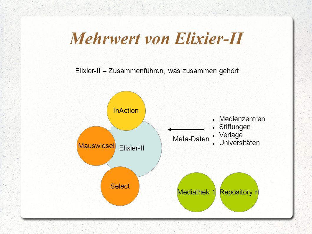 Mehrwert von Elixier-II Elixier-II – Zusammenführen, was zusammen gehört Elixier-II Select Mauswiesel Mediathek 1 InAction Repository n Medienzentren Stiftungen Verlage Universitäten Meta-Daten