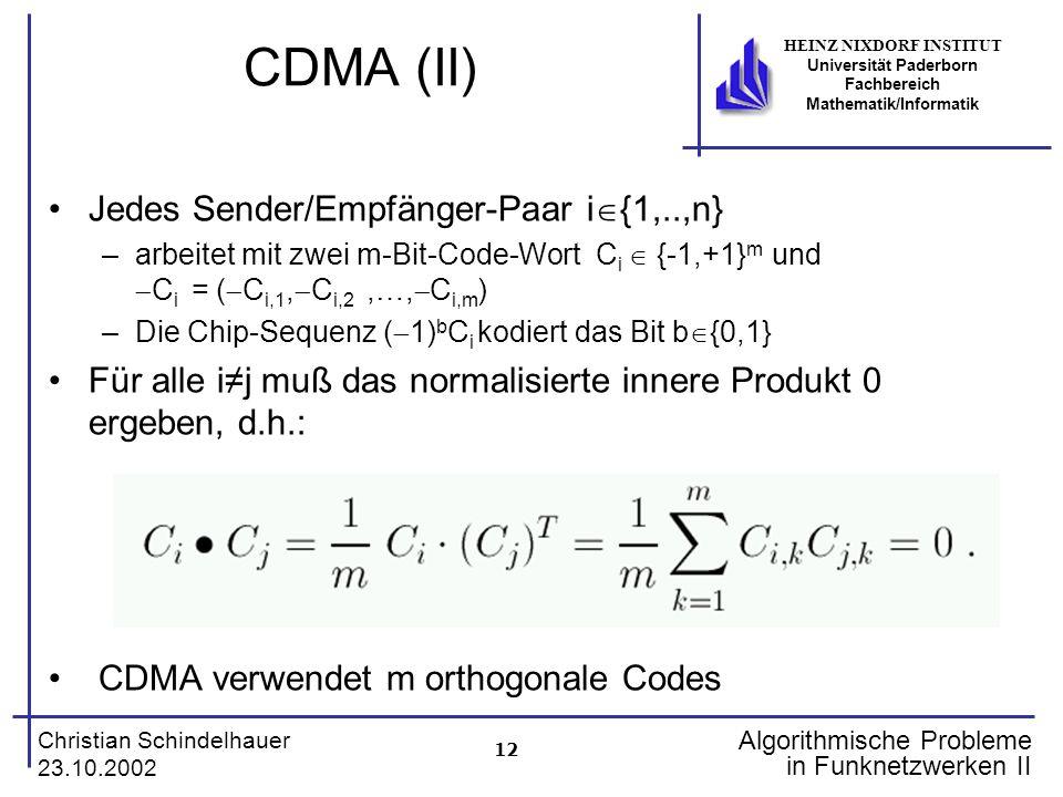 12 Christian Schindelhauer 23.10.2002 HEINZ NIXDORF INSTITUT Universität Paderborn Fachbereich Mathematik/Informatik Algorithmische Probleme in Funkne