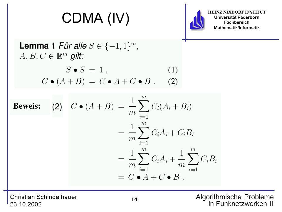 14 Christian Schindelhauer 23.10.2002 HEINZ NIXDORF INSTITUT Universität Paderborn Fachbereich Mathematik/Informatik Algorithmische Probleme in Funkne