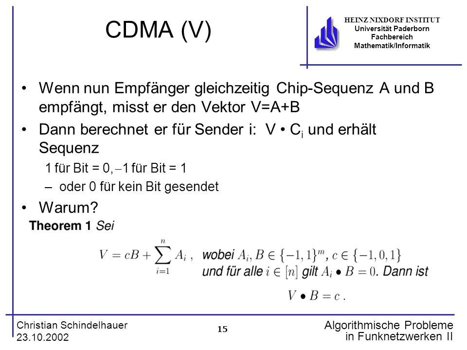 15 Christian Schindelhauer 23.10.2002 HEINZ NIXDORF INSTITUT Universität Paderborn Fachbereich Mathematik/Informatik Algorithmische Probleme in Funkne