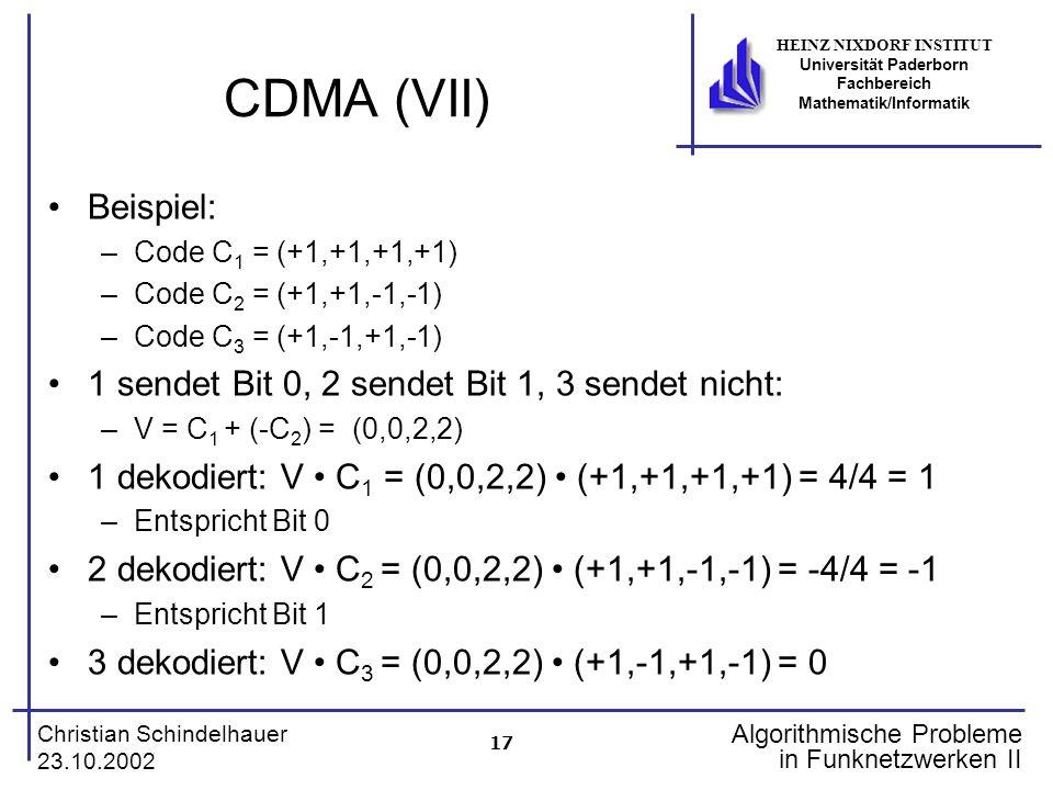 17 Christian Schindelhauer 23.10.2002 HEINZ NIXDORF INSTITUT Universität Paderborn Fachbereich Mathematik/Informatik Algorithmische Probleme in Funkne