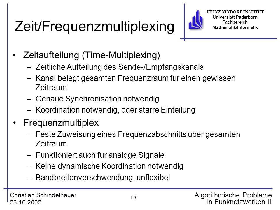 18 Christian Schindelhauer 23.10.2002 HEINZ NIXDORF INSTITUT Universität Paderborn Fachbereich Mathematik/Informatik Algorithmische Probleme in Funkne