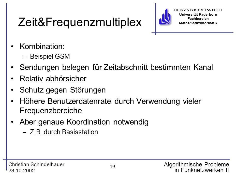 19 Christian Schindelhauer 23.10.2002 HEINZ NIXDORF INSTITUT Universität Paderborn Fachbereich Mathematik/Informatik Algorithmische Probleme in Funkne