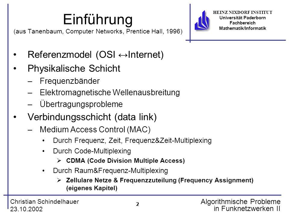 2 Christian Schindelhauer 23.10.2002 HEINZ NIXDORF INSTITUT Universität Paderborn Fachbereich Mathematik/Informatik Algorithmische Probleme in Funknet