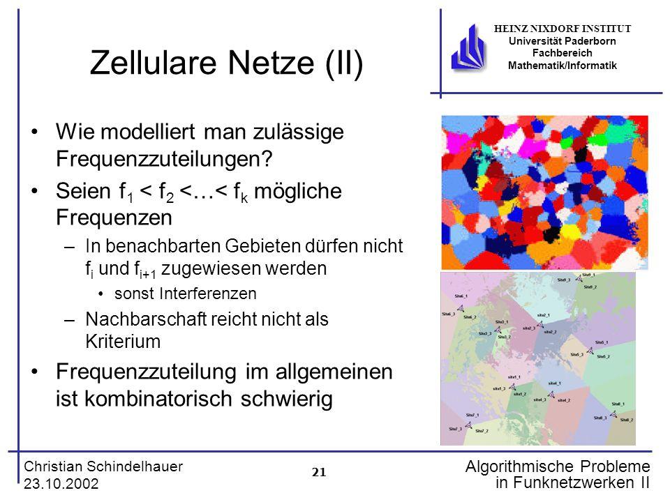 21 Christian Schindelhauer 23.10.2002 HEINZ NIXDORF INSTITUT Universität Paderborn Fachbereich Mathematik/Informatik Algorithmische Probleme in Funkne