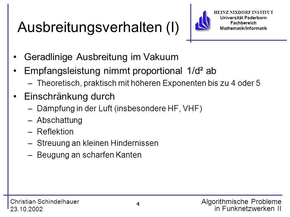 4 Christian Schindelhauer 23.10.2002 HEINZ NIXDORF INSTITUT Universität Paderborn Fachbereich Mathematik/Informatik Algorithmische Probleme in Funknet