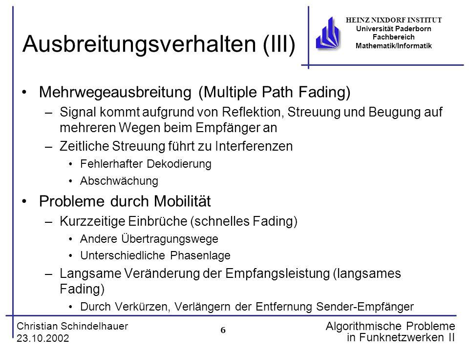 6 Christian Schindelhauer 23.10.2002 HEINZ NIXDORF INSTITUT Universität Paderborn Fachbereich Mathematik/Informatik Algorithmische Probleme in Funknet