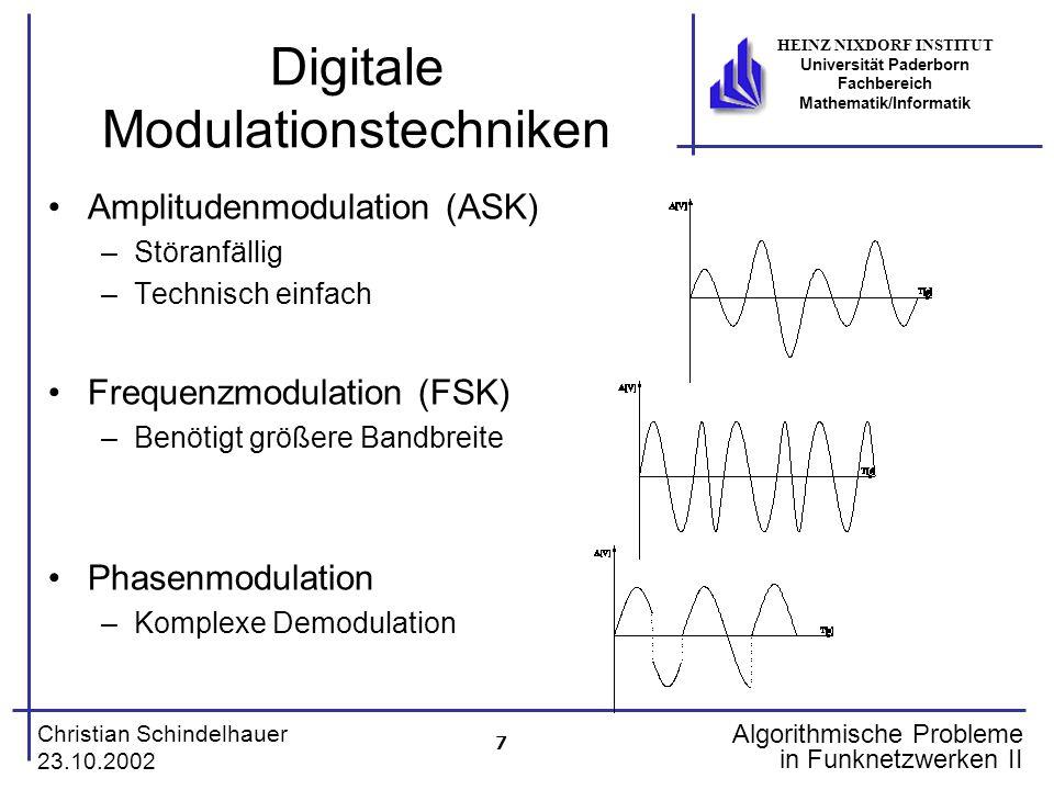 7 Christian Schindelhauer 23.10.2002 HEINZ NIXDORF INSTITUT Universität Paderborn Fachbereich Mathematik/Informatik Algorithmische Probleme in Funknet