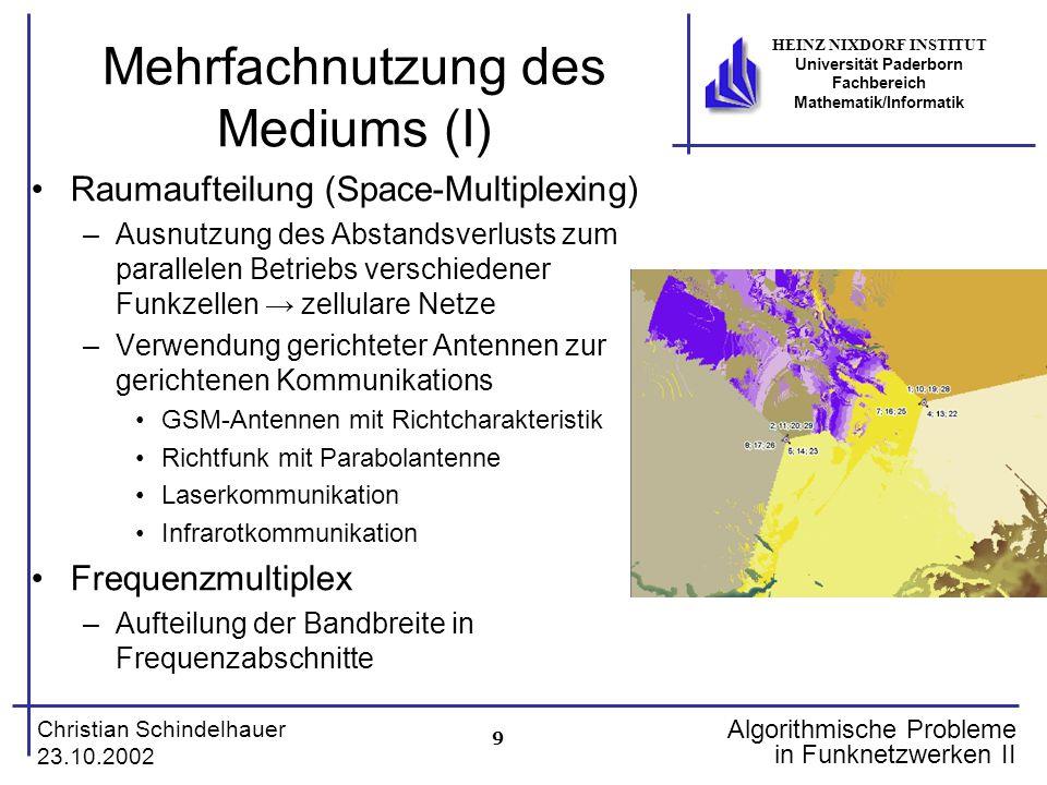 9 Christian Schindelhauer 23.10.2002 HEINZ NIXDORF INSTITUT Universität Paderborn Fachbereich Mathematik/Informatik Algorithmische Probleme in Funknet