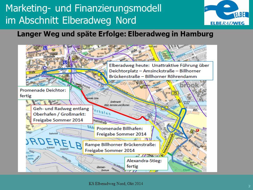2 KS Elberadweg Nord, Okt 2014 Langer Weg und späte Erfolge: Elberadweg in Hamburg Marketing- und Finanzierungsmodell im Abschnitt Elberadweg Nord