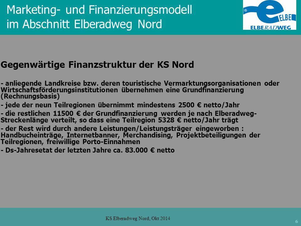 6 KS Elberadweg Nord, Okt 2014 Marketing- und Finanzierungsmodell im Abschnitt Elberadweg Nord Gegenwärtige Finanzstruktur der KS Nord - anliegende Landkreise bzw.