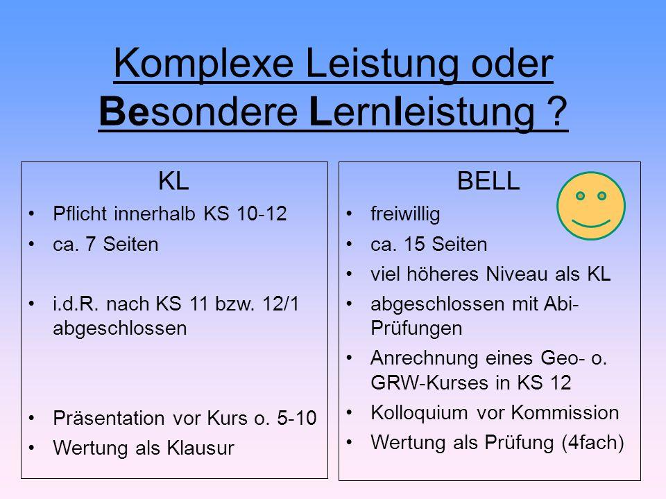 Komplexe Leistung oder Besondere Lernleistung ? KL Pflicht innerhalb KS 10-12 ca. 7 Seiten i.d.R. nach KS 11 bzw. 12/1 abgeschlossen Präsentation vor