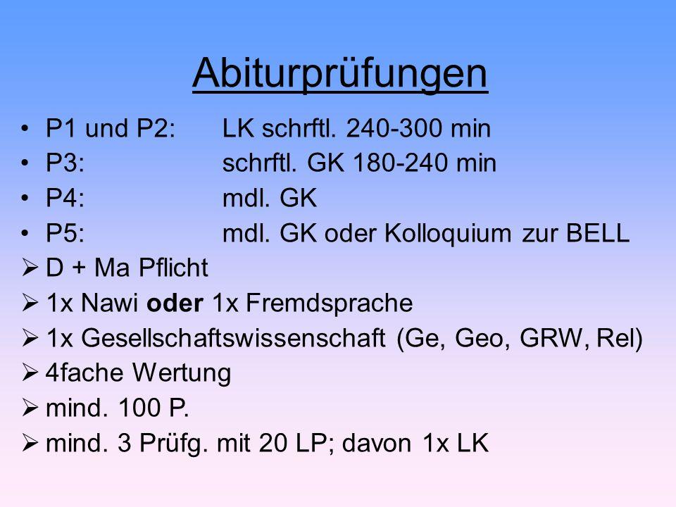 Abiturprüfungen P1 und P2: LK schrftl. 240-300 min P3:schrftl. GK 180-240 min P4: mdl. GK P5: mdl. GK oder Kolloquium zur BELL  D + Ma Pflicht  1x N